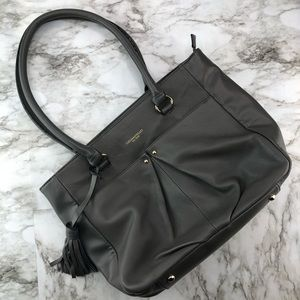 Tignanello Grey Leather Shoulder Tote Satchel Bag